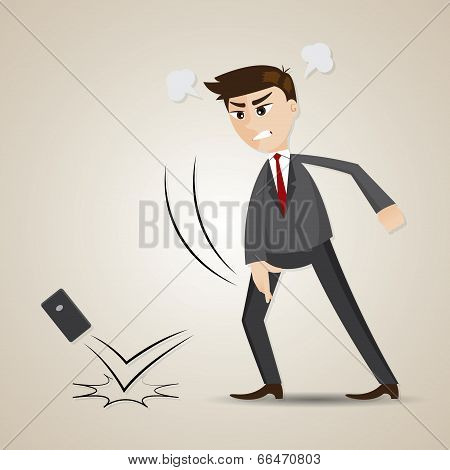 Cartoon Angry Businessman Throwing Cellphone