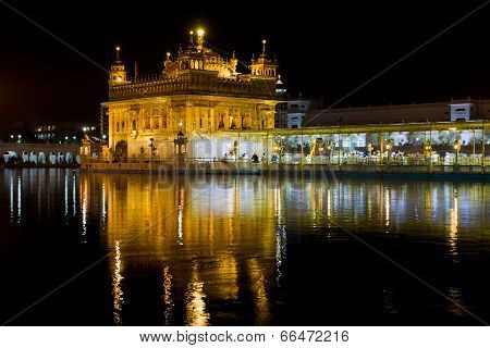Amritsar, India - October 17: Sikh Pilgrims In The Golden Temple During Celebration Day In October 1