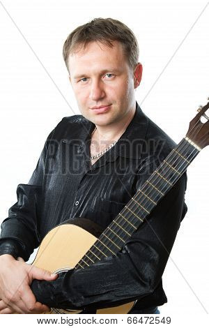 Guitarist And Acoustic Six-string Guitar Isolated On White. Musical Instrument