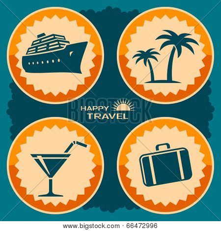 Travel poster design. Vector illustration in retro style