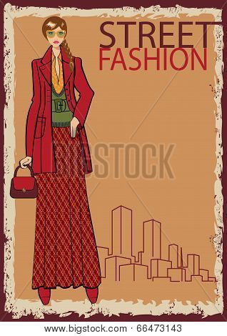 Lovely Trendy Girl.fashion Illustration