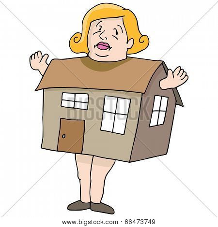 An image of a woman who is as big as a house.
