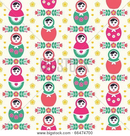 Russian doll Matryoshka folk seamless pattern