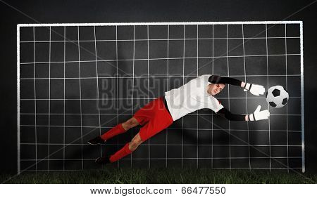 Composite image of fit goal keeper jumping up against goal net