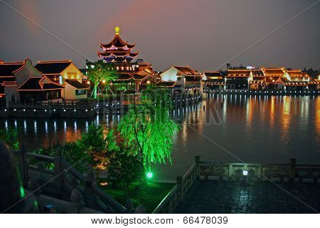 Night View Of  Suzhou Old Town, China