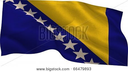 Digitally generated Bosnian national flag waving on white background