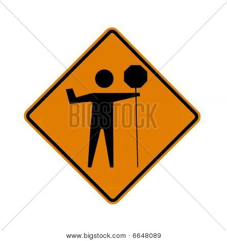 road sign - flagman ahead