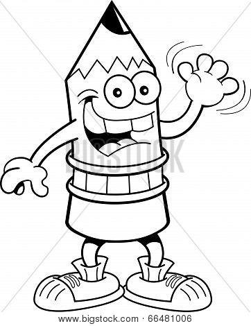 Cartoon waving pencil