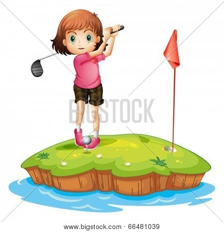 Illustration of an island with a girl playing golf on a white background