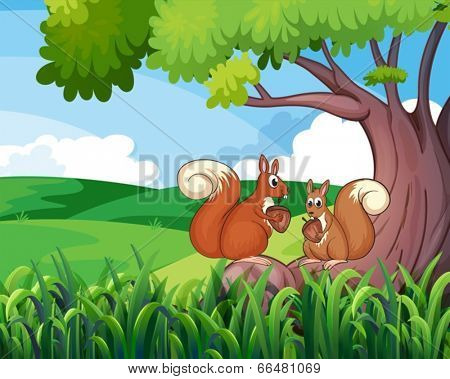 Illustration of the two wild animals under the tree