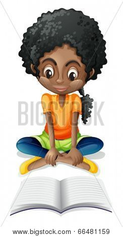 Illustration of a Black girl reading on a white background