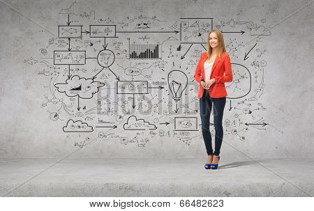 people, business and happiness concept - beautiful teenage girl in casual clothes on high heels