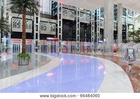 DUBAI, UAE - MARCH 30: elevators in airport on March 30, 2014 in Dubai. Dubai International Airport it is a major airline hub in the Middle East, and is the main airport of Dubai.