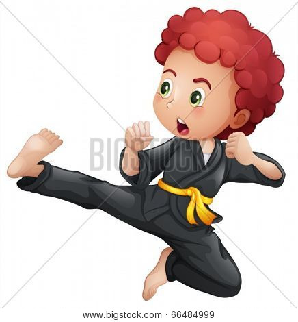 Illustration of a young boy doing karate on a white background