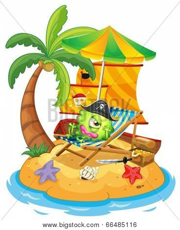 Illustration of an island with a monster pirate on a white background