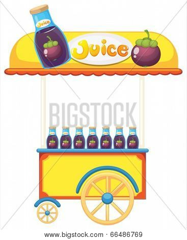 Illustration of a pushcart selling fruit juice on a white background