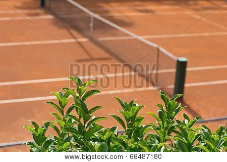 Tennis Clay Court With A Grid
