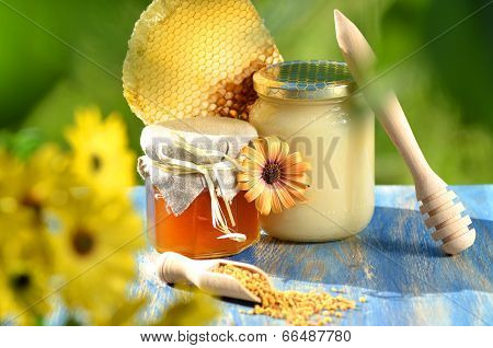 jars full of delicious honey, honeycomb and bee pollen in apiary
