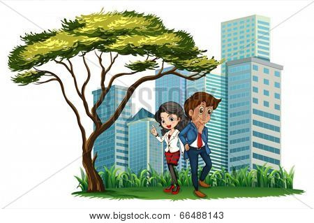 Illustration of the employees under the tree on a white background