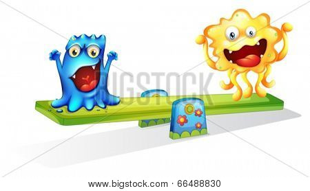 Illustration of the two monsters playing happily on a white background