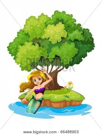 Illustration of a mermaid in an island on a white background
