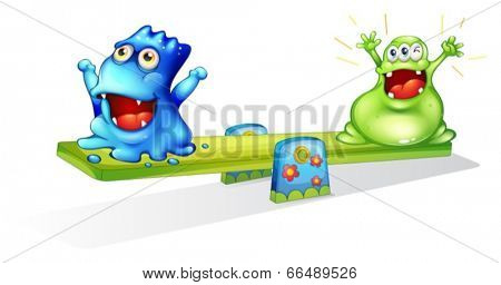 Illustration of the happy monsters playing on a white background