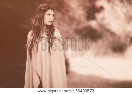 fantasy woman in cloak