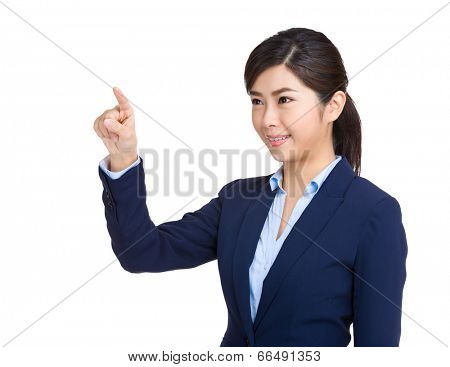 Business woman touch imaginary screen
