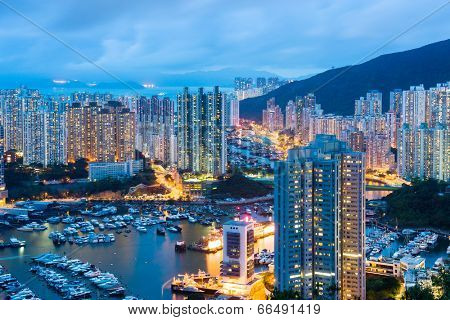 Aberdeen typhoon shelter in Hong Kong at night
