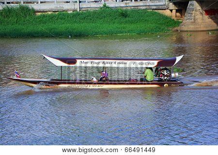 Travel Ship of  mae ping river cruise.