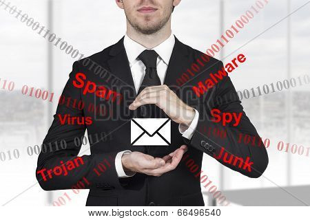 Businessman Protecting Mail From Spam