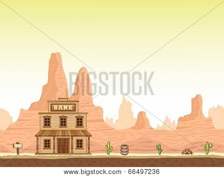 Wild, old west canyon background with bank