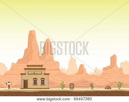 Wild, old west canyon background with drug store