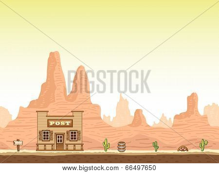 Wild, old west canyon background with post