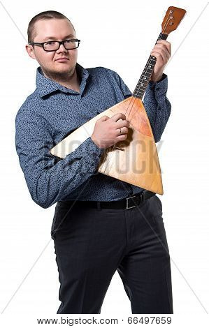 Man with balalaika playing