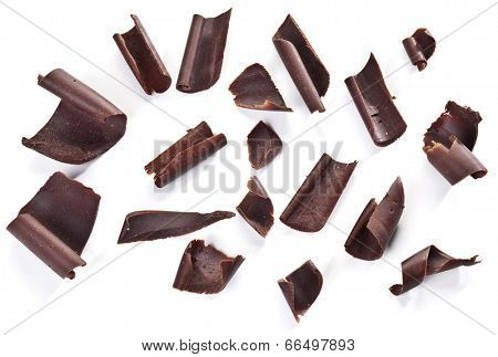 Chocolate chips isolated on a white background.