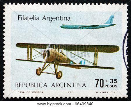 Postage Stamp Argentina 1977 Biplane And Jet