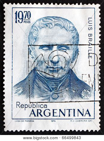 Postage Stamp Argentina 1976 Louis Braille, Educator And Inventor