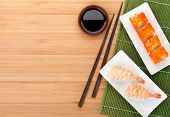 picture of shrimp  - Sushi maki and shrimp sushi on bamboo table with copy space - JPG