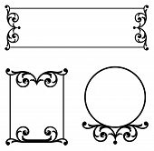 stock photo of scrollwork  - Scrollwork ornament nameplates for sign frames copy space or wrought iron panels in black and white pen and ink see gallery for more options - JPG