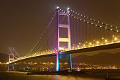 foto of hong kong bridge  - Tsing Ma bridge in Hong Kong at night - JPG