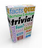 stock photo of quiz  - Trivia word on a box or package for a game of asking and answering questions on pop culture - JPG
