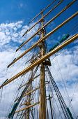 picture of tall ship  - Russian sailboat tall ship STS MIR in harbor - JPG