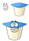 picture of cheeky  - Cheeky white and blue cartoon yoghurt with a happy smile with a second plain variation with a separate smiling face element - JPG