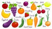 stock photo of pepper  - Set of vibrant colorful vector fruit and vegetables  each labelled  with onion  carrot  eggplant  cucumber  sweet pepper  tomato  pea  grapes  strawberry  cherry  banana  pear  plum  orange and lemon - JPG