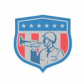 picture of military personnel  - Metallic styled illustration of a soldier military police personnel blowing a bugle set inside crest shield with stars stripes done in retro style - JPG