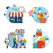 image of cashiers  - Set of four flat style vector shopping icons depicting a a store front  customer shopping  checkout with cashier   gift purchase and delivery - JPG