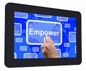 image of empower  - Empower Tablet Touch Screen Meaning Encourage Empowerment - JPG