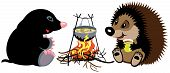 stock photo of mole  - cartoon mole and hedgehog preparing food on campfire in wild camping - JPG