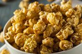 pic of popcorn  - Homemade Golden Caramel Popcorn in a Bowl - JPG